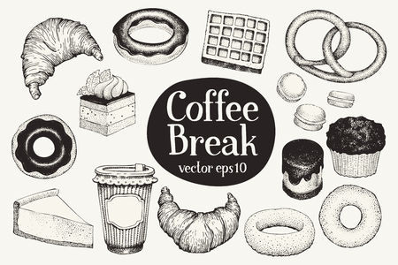 Coffee break. Dessert set. Vector hand drawn illustrations. Food vintage style. Can be use for bakery and cafe menu.