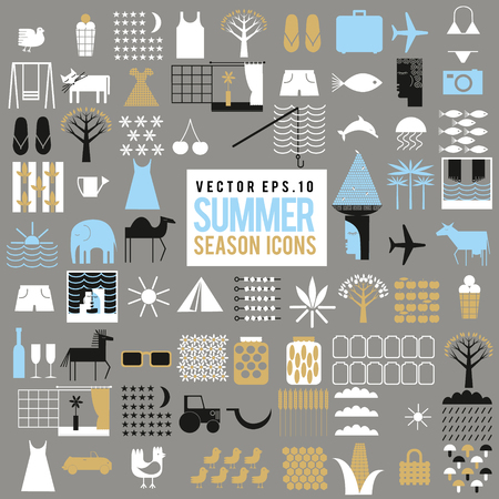 Vector set of summer season icons. Big collection of different illustrations.