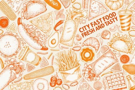 Fast food hand drawn vector illustrations. Street food banner design template. Can be use for fast food restaurant or cafe menu or packaging design. 스톡 콘텐츠 - 102132899
