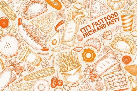 Fastfood hand getekend vectorillustraties. Straatvoedsel banner ontwerpsjabloon. Kan worden gebruikt voor fastfoodrestaurant- of cafémenu of verpakkingsontwerp.