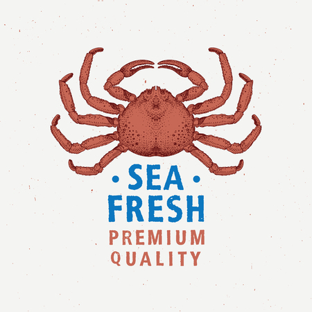 Seafood vintage label with red crab. Hand drawn illustration. Can be use for restaurant, bar, pub, and cafe design or packcaging.