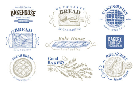 Bakery set of vector monochrome labels, badges, emblems. Hand drawn retro illustrations. Logo design templates. Can be use for menu, packaging.