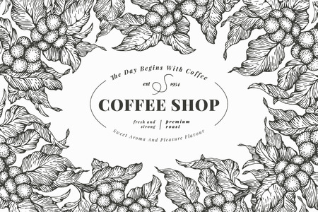 Coffee tree banner template. Vector illustration. Vintage coffee frame. Hand drawn engraved style illustration.