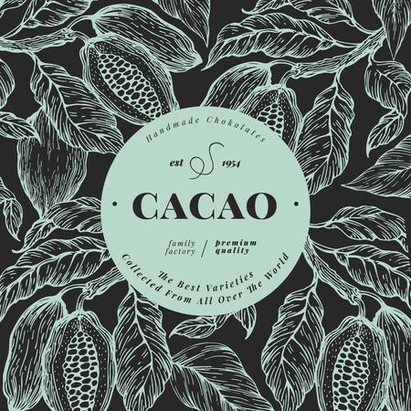 Cocoa bean tree banner template. Chocolate cocoa beans background. Vector hand drawn illustration. Vintage style illustration. Illusztráció