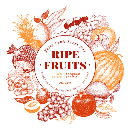 Fruits and berries hand drawn vector illustration. Retro engraved style frame design. Can be use for menu, label, packaging, farm market products.
