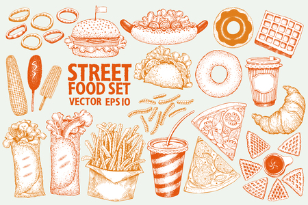 Fast food vector illustration set. Hand drawn street food. Can be use for fast food restaurant or cafe menu or packaging design.