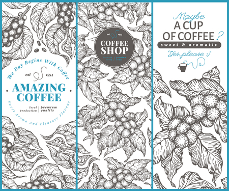 Coffee tree banner templates. Vector illustration. Vintage coffee banners set. Hand drawn engraved style illustration.
