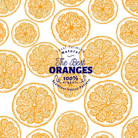 Orange seamless pattern. Hand drawn vector fruit background. Engraved style. Retro citrus illustration.