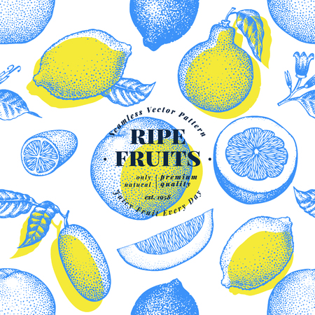 Citrus fruits seamless pattern. Hand drawn vector fruit illustration. Engraved style. Retro citrus background. Illustration