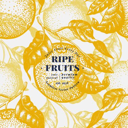 Orange tree seamless pattern Hand drawn vector fruit illustration. Engraved style. Retro citrus background. Stok Fotoğraf - 115044736