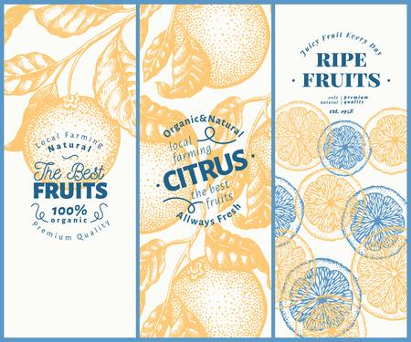 Orange fruit banner set. Hand drawn vector fruit illustration. Engraved style design templates. Retro citrus background. Illustration