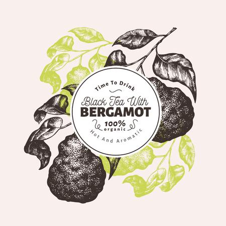 Designvorlage für Bergamotte-Zweig. Kaffernlimettenrahmen. Handgezeichnete Vektor-Frucht-Illustration. Gravierter Retro-Zitrushintergrund.