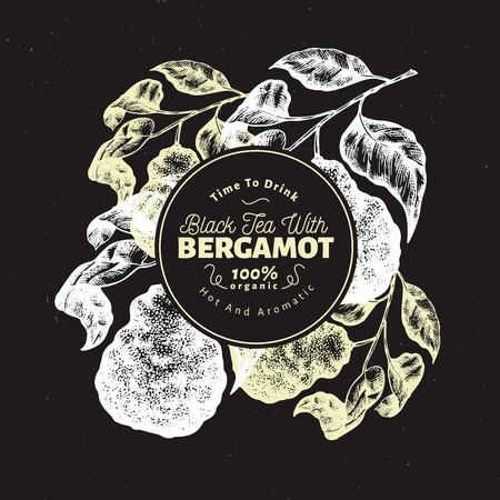 Bergamot branch design template. Kaffir lime frame. Hand drawn vector fruit illustration on chalk board. Engraved style retro citrus background. Illustration