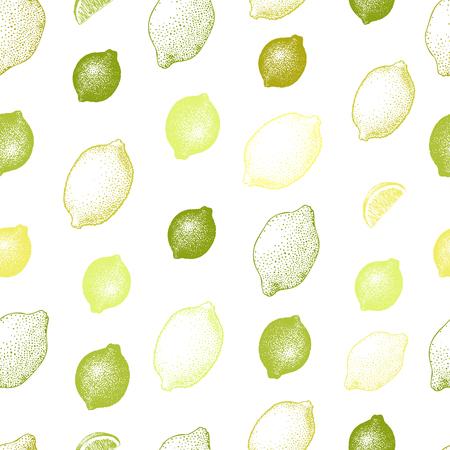 Lemonseamless, pattern, Hand drawn vector fruit illustration. Engraved style. Retro citrus background