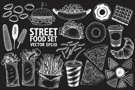 Fast food vector illustration set. Hand drawn retro street food on chalk board. Can be use for fast food restaurant or cafe menu or packaging design.