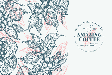 Coffee tree banner template. Vector illustration. Retro coffee background. Hand drawn engraved style illustration.