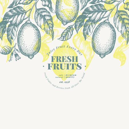 Lemon tree banner template. Hand drawn vector fruit illustration. Engraved style. Retro citrus background.