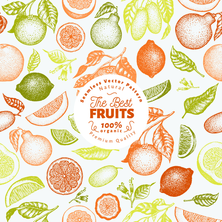 Citrus fruits seamless pattern. Hand drawn vector fruit illustration. Engraved style. Retro citrus background. Stock Vector - 112375755