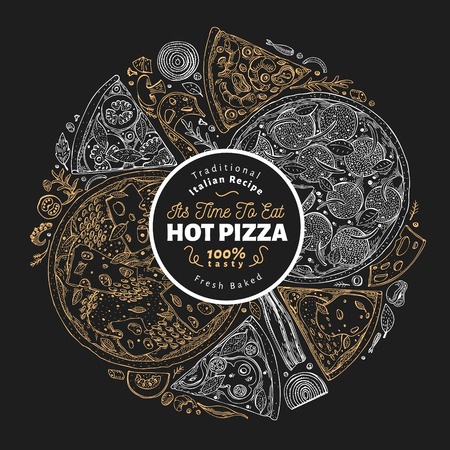 Pizza design template. Hand drawn vector fast food illustration on chalk board. Sketch style vintage Italian pizza background.