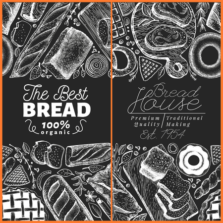 Bakery top view frame. Hand drawn vector illustration with bread and pastry on chalk board. Vintage design template. Can be use for menu, packaging.