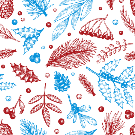 Vector Christmas seamless pattern. Hand drawn winter illustrations. Banner with coniferous, pine branches, berries, holly, mistletoe in vintage style. Merry Christmas background