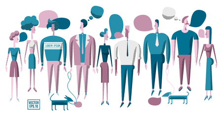 Vector illustration various people. Men and women discuss news, social networks. People chat, dialogue speech bubbles. Modern flat design. Stock Photo