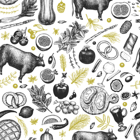 Christmas dinner seamless pattern. Vector hand drawn illustrations. Happy Christmas dinner vintage design. Background with harvest, vegetables, pastry, bakery, meat beef.