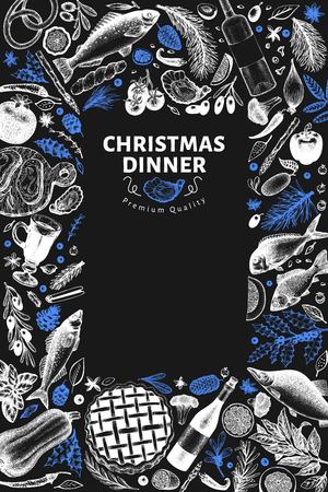 Happy Christmas Dinner design template. Vector hand drawn illustrations on chalk board. Vintage style card. Frame with meal vegetables, pastry, bakery, seafood, fish. Great for invitation, menu cover
