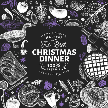 Happy Christmas Dinner design template. Vector hand drawn illustrations on chalk board. Vintage style card. Frame with harvest, vegetables, pastry, bakery, meat. Great for invitation or menu cover
