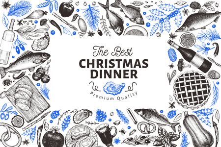 Happy Christmas Dinner design template. Vector hand drawn illustrations. Greeting card in vintage style. Frame with harvest, vegetables, pastry, bakery, seafood, fish. Great for invitation, menu cover Foto de archivo