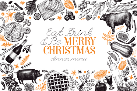 Happy Christmas Dinner design template. Vector hand drawn illustrations. Greeting card in vintage style. Frame with harvest, vegetables, pastry, bakery, meat. Can be use for invitation or menu cover