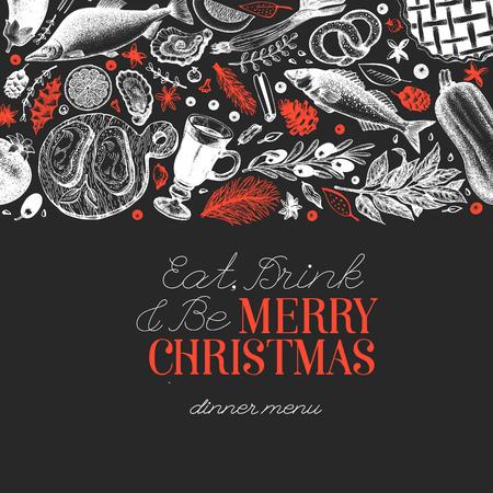 Plantilla de diseño de cena de Navidad feliz. Vector ilustraciones dibujadas a mano en pizarra. Tarjeta de estilo vintage. Fondo con verduras, panadería, mariscos, pescado. Ideal para invitación, portada de menú.