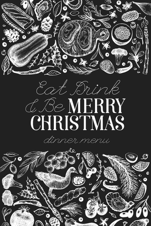 Happy Christmas Dinner design template. Vector hand drawn illustrations on chalk board. Greeting card in vintage style. Frame with harvest, vegetables,bakery, meat. Great for invitation or menu cover