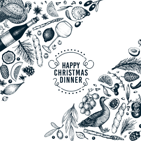 Happy Christmas Dinner design template. Vector hand drawn illustrations. Greeting card in vintage style. Frame with harvest, vegetables, pastry, bakery, meat. Great for invitation or menu cover