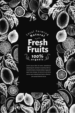 Retro citrus banner template. Lemon tree design. Hand drawn vector fruit illustration on chalk board. Engraved vintage style menu cover.
