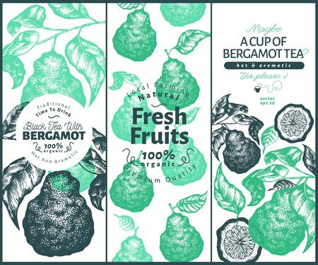 Bergamot design set template. Kaffir lime frame. Hand drawn vector fruit illustration. Engraved style retro citrus background.
