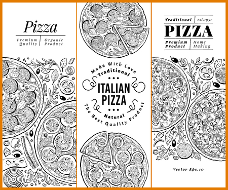 Vector Italian pizza banner set. Hand drawn retro illustrations. Italian Food design template. Can be use for menu, packaging, adversiting for caffe, restaurant, pizzeria Ilustração