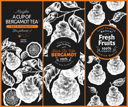 Bergamot design set template. Kaffir lime frame. Hand drawn vector fruit illustration on chalk board. Engraved style retro citrus background. Vectores