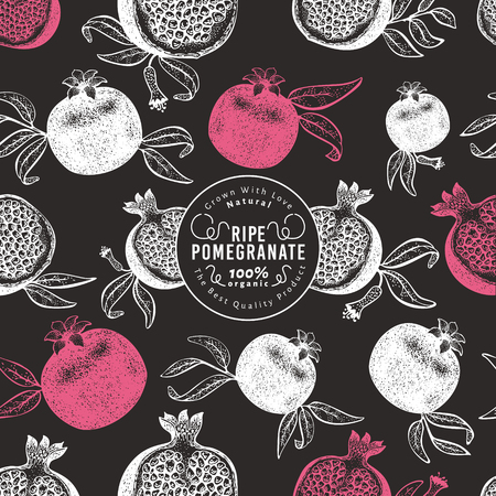 Pomegranate fruit design template. Hand drawn vector fruit illustration on chalk board. Engraved style retro botanical background. Can be use for design menu, packaging, recipes, market products.