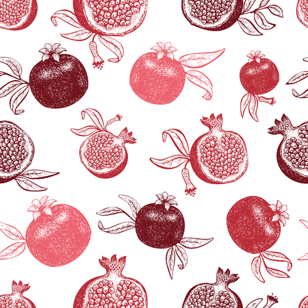 Pomegranate fruit seamless pattern. Hand drawn vector fruit illustration. Engraved style retro botanical background. Can be use for design menu, packaging, recipes, market products. Zdjęcie Seryjne - 125338824