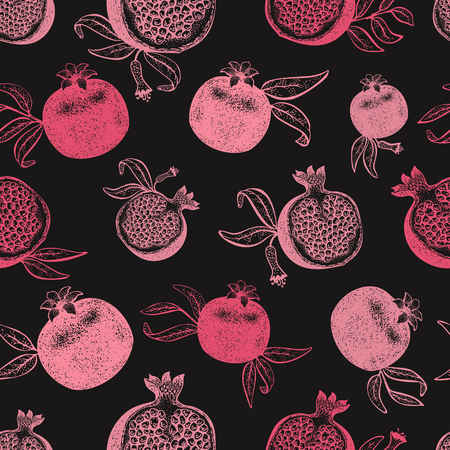 Pomegranate fruit seamless pattern. Hand drawn vector fruit illustration on chalk board. Engraved style retro botanical background. Can be use for design menu, packaging, recipes, market products. Zdjęcie Seryjne - 125338826