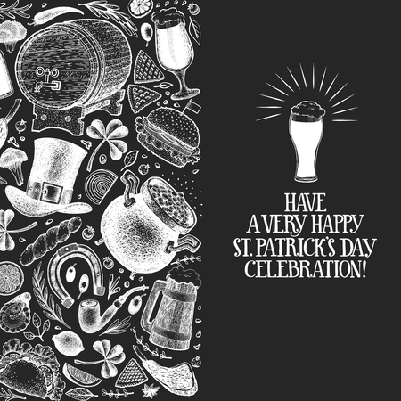 St. Patricks day design template. Vector hand drawn illustrations on chalk board. Irish retro background. Can be use for menu cover or packaging.