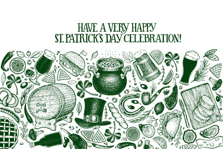 St. Patricks day design template. Vector hand drawn illustrations. Irish retro background. Can be use for menu cover or packaging.