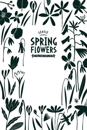 Spring flowers design template. Scandinavian style banner. Hand drawn vector illustrations. Botanical background.