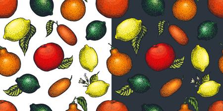 Citrus fruits seamless pattern. Hand drawn vector fruit illustration. Engraved style. Retro citrus background. Illustration