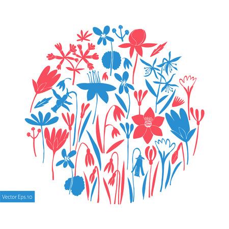Spring flowers round design. Scandinavian style banner. Hand drawn vector illustrations. Botanical background.