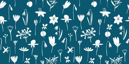Spring flowers green seamless vector pattern. Scandinavian style print. Hand drawn illustrations. Botanical background.