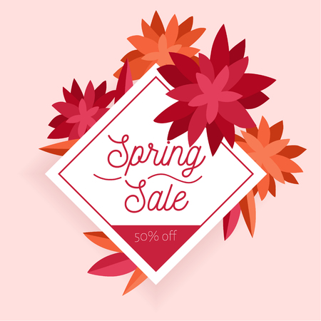 Spring sale. Design template with beautiful flowers. Vector hand drawn illustration banner. Can be use as flyer, invitation, poster, brochure, discount.