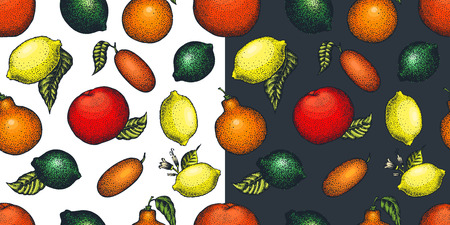 Citrus fruits seamless pattern. Hand drawn vector fruit illustration. Engraved style. Retro citrus background. Stock Photo