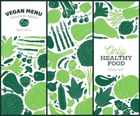 Ensemble de modèles de conception de légumes dessinés à la main. Graphique monochrome. Fond de légumes. Style linogravure. Nourriture saine. Illustration de dessin animé de vecteur